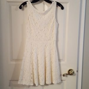 Beautiful cream colored fit and flare dress